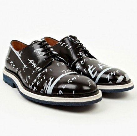 Kenzo BLACK Havyn Writings Leather Lace-Up Shoes
